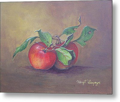 Metal Print featuring the painting An Apple A Day  by Margit Sampogna