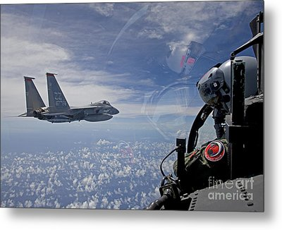 An F-15 Eagle Pilot Flies In Formation Metal Print by HIGH-G Productions