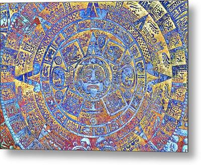 Ancient Mayan Calendar, Abstract Color Background. Metal Print