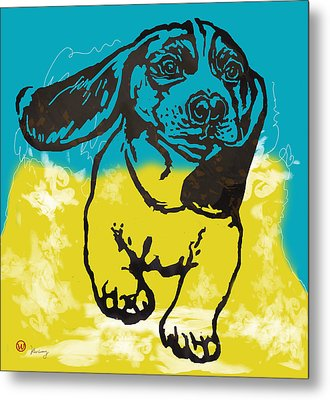 Animal Pop Art Etching Poster - Dog - 11 Metal Print by Kim Wang