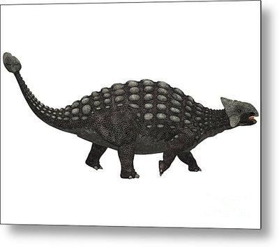 Ankylosaurus On White Metal Print by Corey Ford