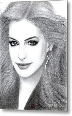 Metal Print featuring the drawing Anne Hathaway by Eliza Lo