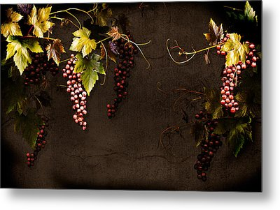 Antique Grapes Metal Print by Marsha Tudor