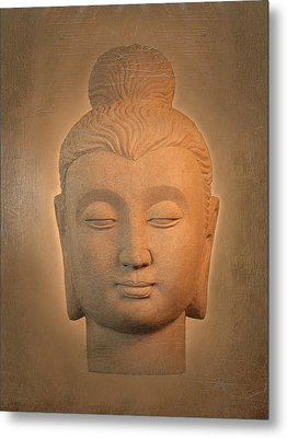 antique oil effect Buddha Gandhara. Metal Print by Terrell Kaucher