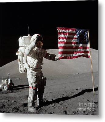 Apollo 17 Astronaut Salutes The United Metal Print