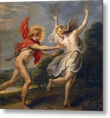 Apollo Pursuing Daphne Metal Print by Cornelis de Vos