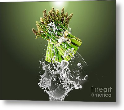 Asparagus Splash Metal Print