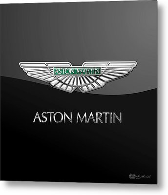 Aston Martin 3 D Badge On Black  Metal Print by Serge Averbukh
