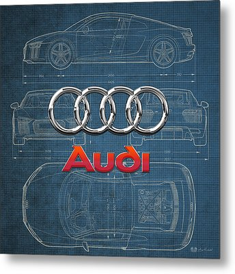 Audi 3 D Badge Over 2016 Audi R 8 Blueprint Metal Print by Serge Averbukh