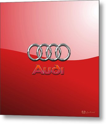 Audi - 3d Badge On Red Metal Print by Serge Averbukh