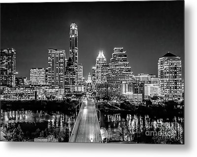 Austin Skyline In Black And White Metal Print by Tod and Cynthia Grubbs