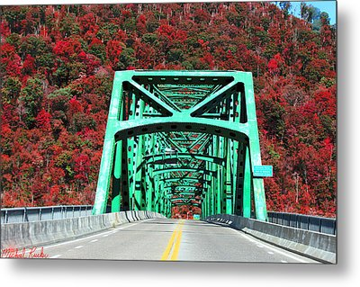 Autumn Bridge Metal Print by Michael Rucker