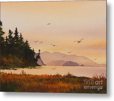 Metal Print featuring the painting Autumn Shore by James Williamson