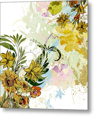 Autumn Sunflower Digital Illustration Metal Print by Heinz G Mielke