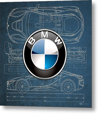 B M W 3 D Badge Over B M W I8 Blueprint  Metal Print by Serge Averbukh