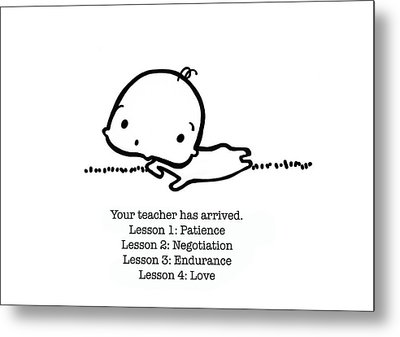 Metal Print featuring the drawing Baby Teacher by Leanne Wilkes