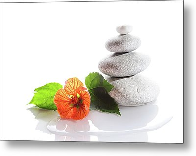 Balanced Stones And Red Flower Metal Print
