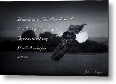 Metal Print featuring the photograph Bald Eagle In Flight With Bible Verse by John A Rodriguez