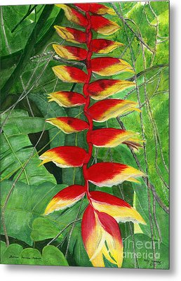 Metal Print featuring the painting Balinese Heliconia Rostrata by Melly Terpening