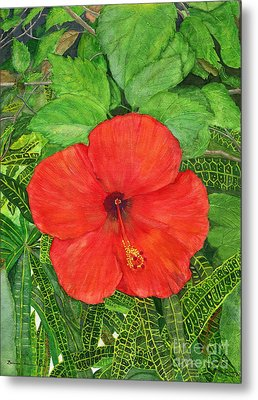 Metal Print featuring the painting Balinese Hibiscus Rosa by Melly Terpening