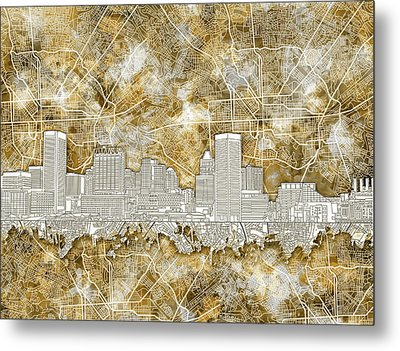 Metal Print featuring the painting Baltimore Skyline Watercolor 13 by Bekim Art
