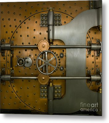 Bank Vault Door Exterior Metal Print by Adam Crowley