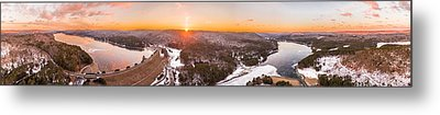 Barkhamsted Reservoir And Saville Dam In Connecticut, Sunrise Panorama Metal Print by Petr Hejl