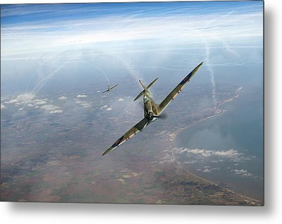 Metal Print featuring the photograph Battle Of Britain Spitfires Over Kent by Gary Eason