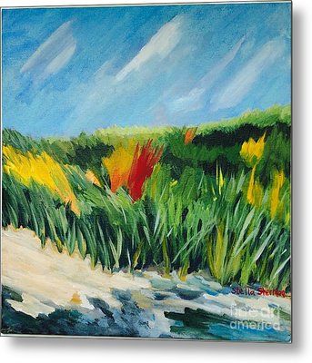 Beach Grass Metal Print by Stella Sherman