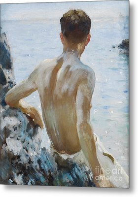 Beach Study Metal Print by Henry Scott Tuke