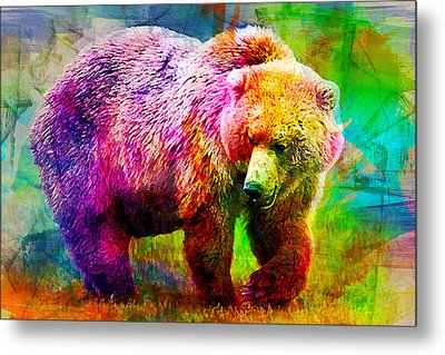 Bear Metal Print by Elena Kosvincheva