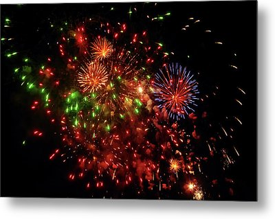 Beautiful Fireworks Against The Black Sky Of The New Year Metal Print