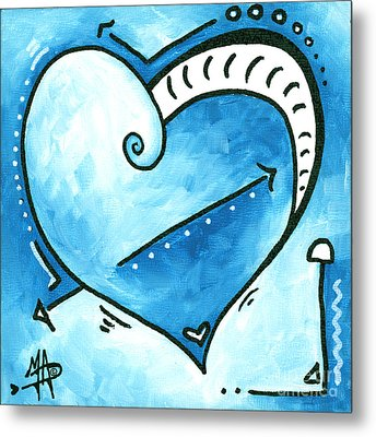 Beautiful Original Acrylic Heart Painting From The Pop Of Love Collection By Madart Metal Print