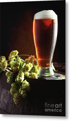 Beer And Hops On Barrel Metal Print by Amanda Elwell