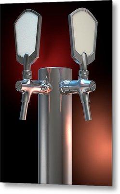 Beer Tap Dual Dark Metal Print by Allan Swart