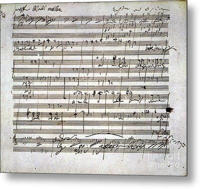 Beethoven Manuscript Metal Print