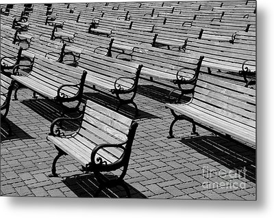 Benches Metal Print by Perry Webster