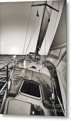 Beneteau 49 Sailing Yacht Close Hauled Charleston Sunset Sailboat Metal Print by Dustin K Ryan