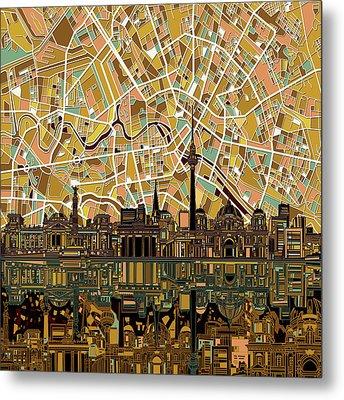 Berlin City Skyline Abstract Metal Print by Bekim Art