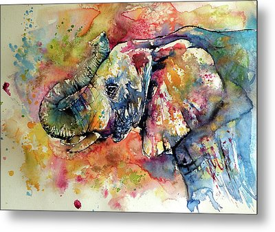 Big Colorful Elephant Metal Print