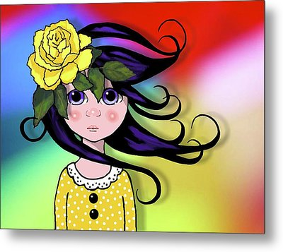 Big Eyed Girl With Rose, Pop Art Metal Print by Joyce Geleynse
