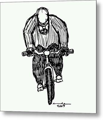 Biking Man Metal Print by Karl Addison