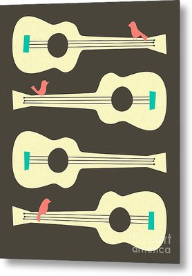 Birds On Guitar Strings Metal Print