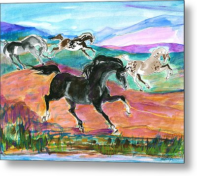 Metal Print featuring the painting Black Pony by Mary Armstrong