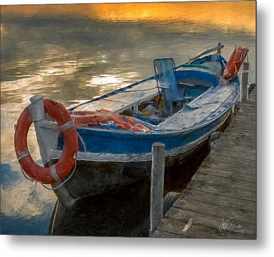 Metal Print featuring the photograph Blue Boat by Juan Carlos Ferro Duque