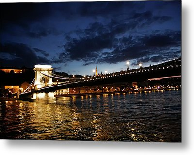 Blue Danube Sunset Budapest Metal Print by KG Thienemann