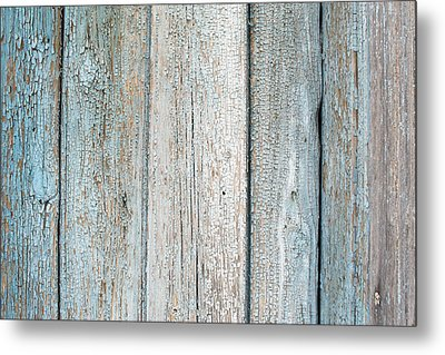 Blue Fading Paint On Wood Metal Print by John Williams