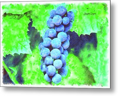 Blue Grapes - Watercolor Over Paper Metal Print by Leonardo Digenio