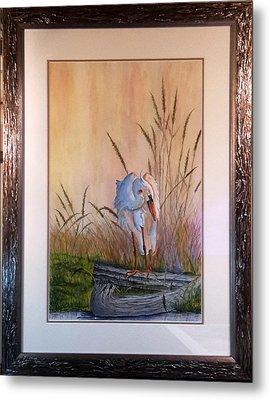Blue Heron On A Log  Metal Print
