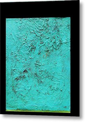 Aqua Blue And Green No 11 Oil On Board 16 X 20  Metal Print by Radoslaw Zipper